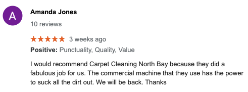 Google Review of Carpet Cleaning North Bay